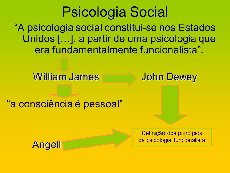 Psicologia Social A psicologia social constitui-se nos Estados Unidos […], a partir de uma psicologia que era fundamentalmente funcionalista .
